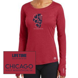 Chicago Half Marathon & 5K: 'State' Women's LS Tech Tee - Ripped Red - by OGIO