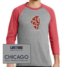 Chicago Half Marathon & 5K: 'State' Men's 3/4 sleeve Tri-Blend Baseball Tee - Red Frost / Grey Frost - by District Made