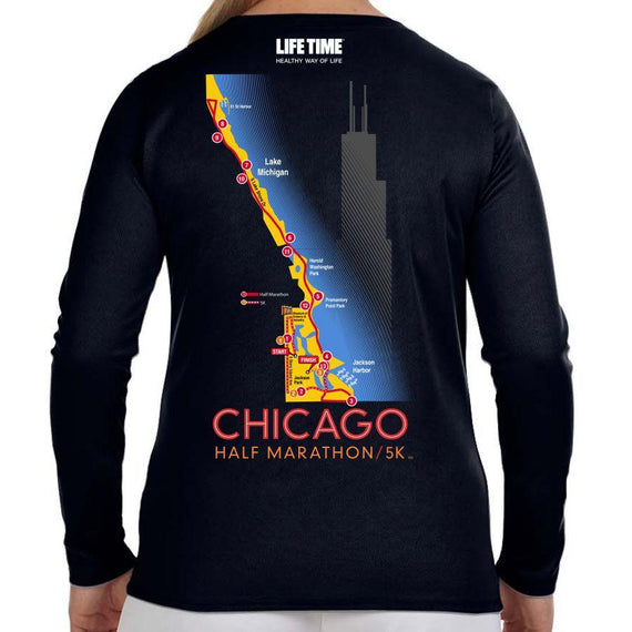 Chicago Half Marathon & 5K: '2017 Map' Women's LS Tech V-Neck Tee - Black - by New Balance