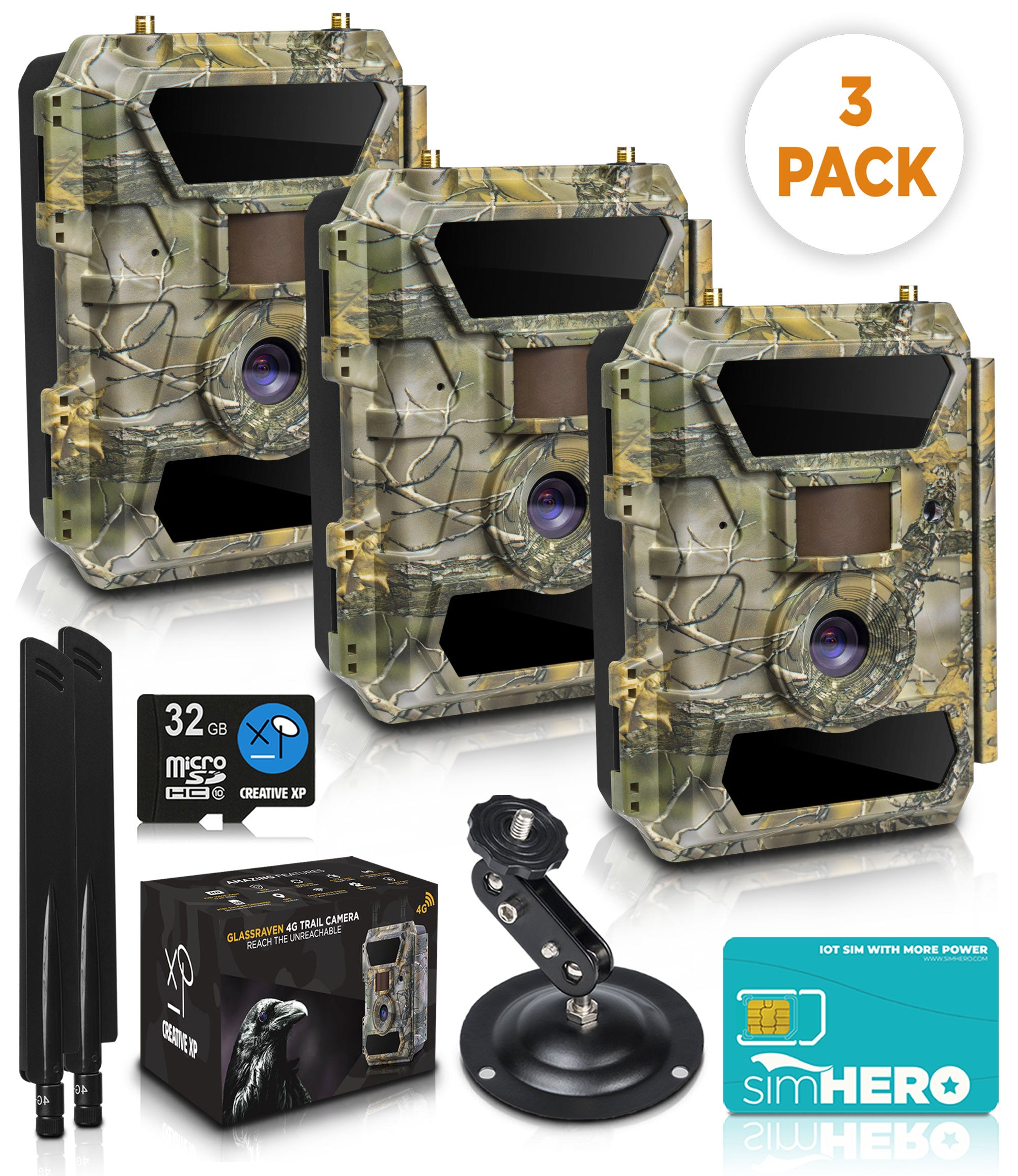 3-Pack GlassRaven 4G LTE - Cellular IR Trail Camera