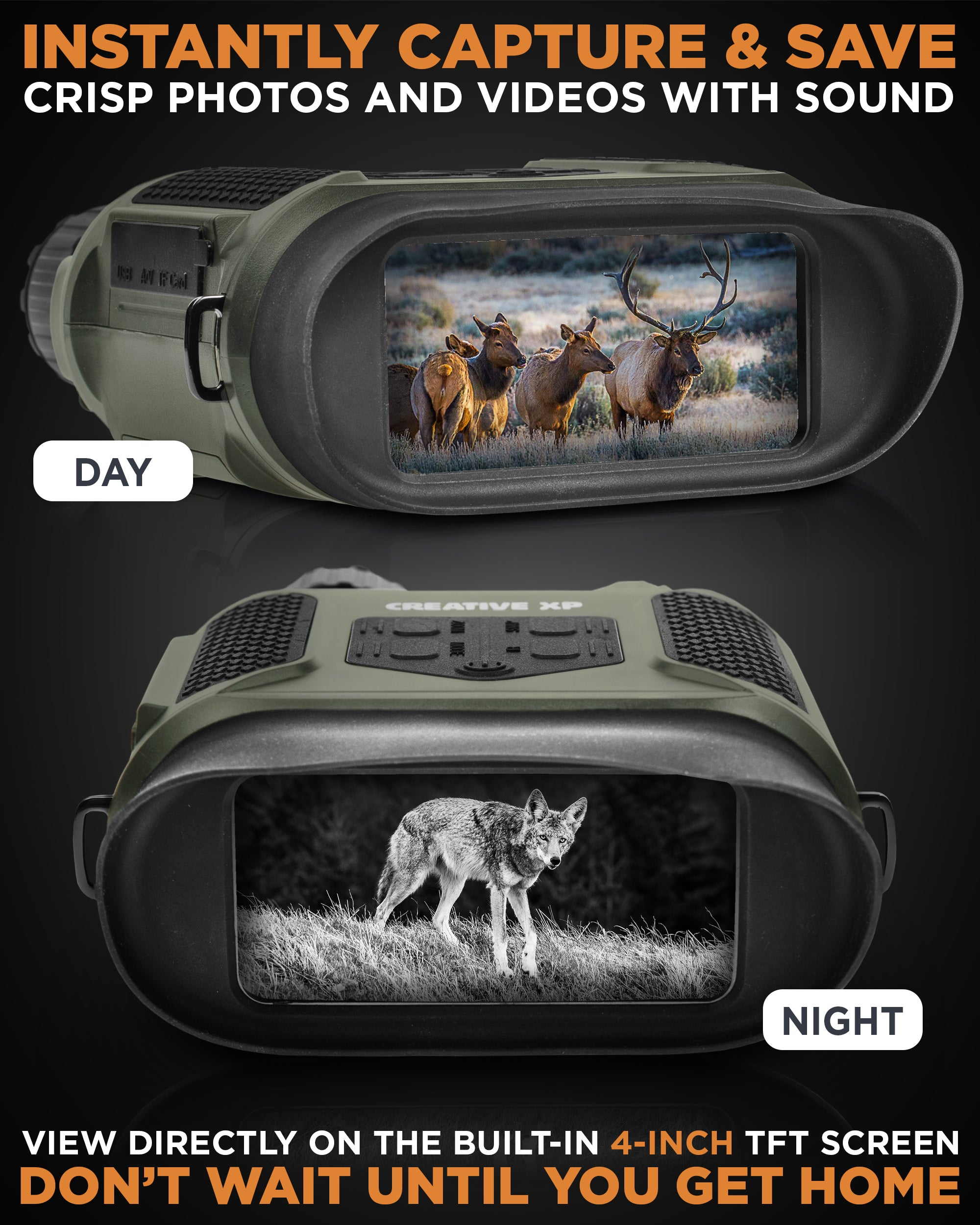 PRO Green - Night Vision IR Digital Binoculars