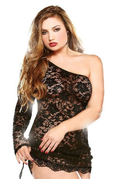 One Shoulder Lace Dress w/ Adjustable Side Detail and Thong