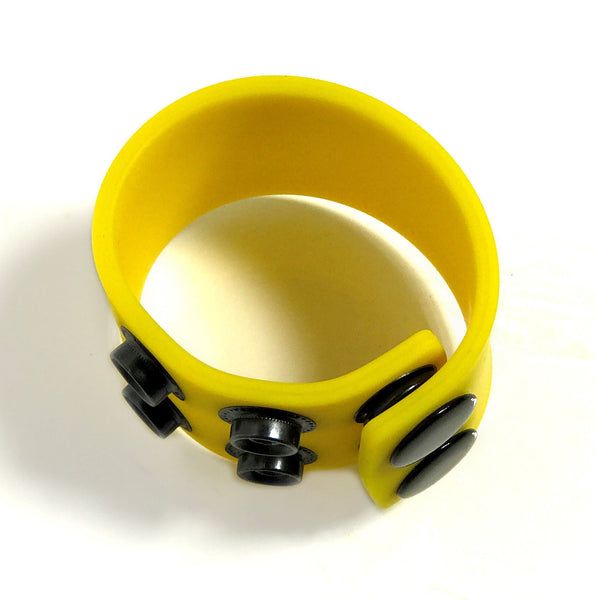 Boneyard 1.5inch Silicone Ball Strap - 3 Snap - Yellow - Sex Toy Australia