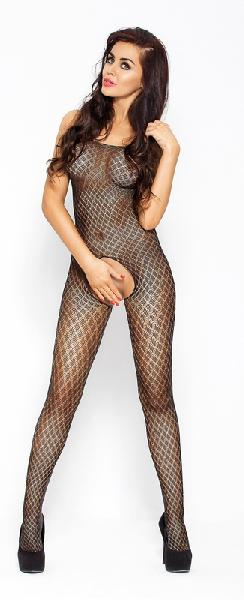 Body Stocking With Open Crotch Black