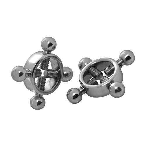 Masters Series Bondage Rings Of Fire - Stainless Steel Nipple Press Set (Silver) - Sex Toy Australia
