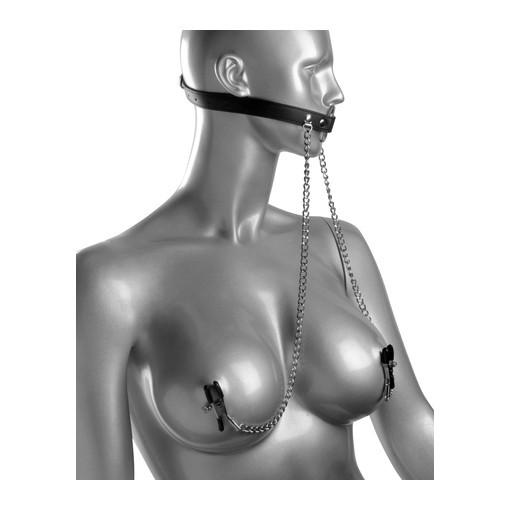 Masters Series Bondage Seize O-Ring Gag With Nipple Clamps (Black)