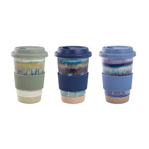 IS GIFT - Reactive Glaze Ceramic Eco Travel Cup, Assorted Colours