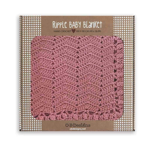 O.B. Designs - Hand Crochet Ripple Blanket, Blush