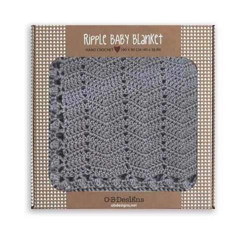 O.B. Designs - Hand Crochet Ripple Blanket, Grey