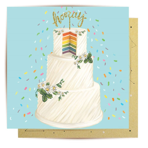 Lalaland - Hooray Wedding Cake Greeting Card