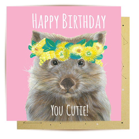 Lalaland - Flora Explorer Wombat Greeting Card