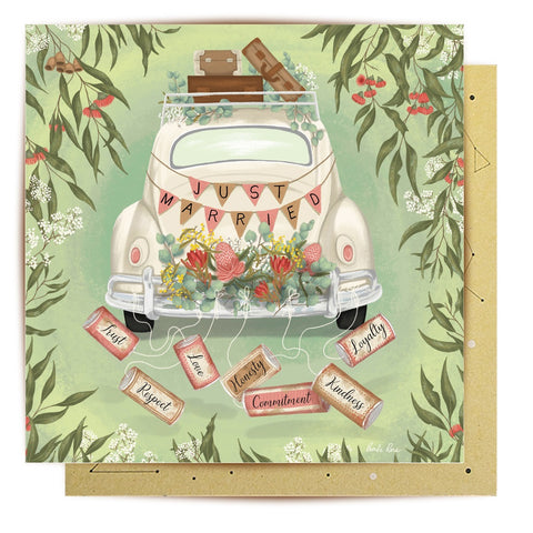 Lalaland - Just Married Australiana Greeting Card