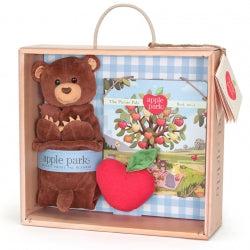 Apple Park - 100% Organic Cubby Gift Set- Blankie, Book and Rattle