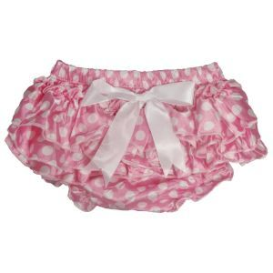 ES Kids - Ruffle Baby Bloomers, Light Pink with White Spots