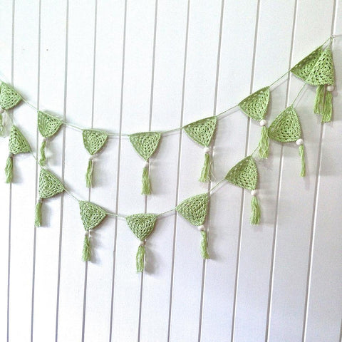 O.B. Designs - Hand Crochet Bunting, Green