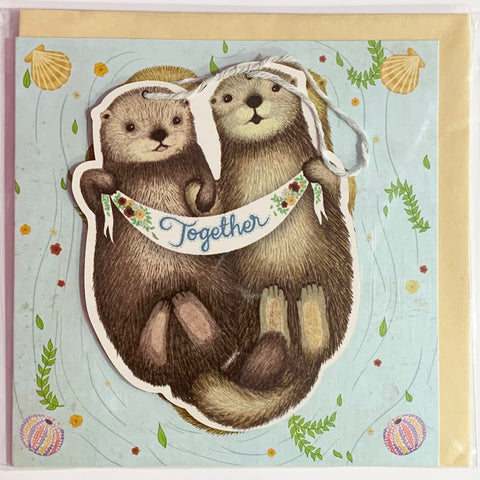 Lalaland - Otters Together Greeting Card with Ply Wood Keepsake