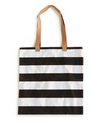 Rosanna Inc. - Ladies Choice Canvas Tote with Leather Handle, Black Stripe