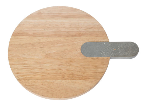 Zakkia - Paddle Serving Board with Concrete Handle, Round