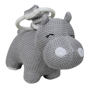 ES Kids - Hilbert the Hippo Knitted Pram Toy, Grey