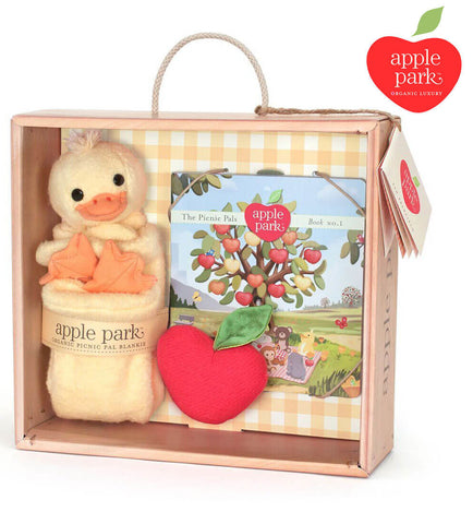 Apple Park - 100% Organic Ducky Gift Set- Blankie, Book and Rattle