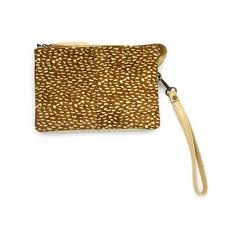 Zoda - Leather and Hide Clutch Bag, Cheetah