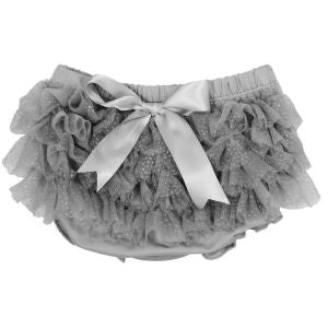 ES Kids - Ruffle Baby Bloomers, Grey with Silver Sparkles