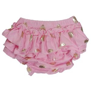 ES Kids - Ruffle Baby Bloomers, Pink with Gold Spots