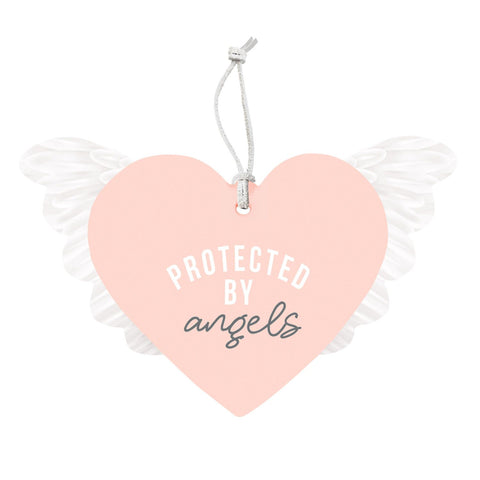 Splosh - Protected by Angels Hanging Heart, Pink