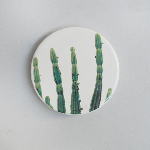 White Moose - Cactus Print Ceramic Coasters, Set of 4