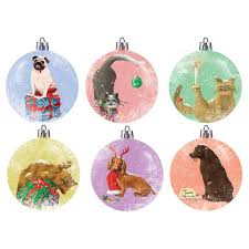 Lalaland - Christmas Gift Tag Set of 6 Illustrated Tags, Pet Baubles