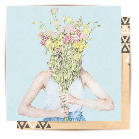 Lalaland - Girl With Flowers Greeting Card