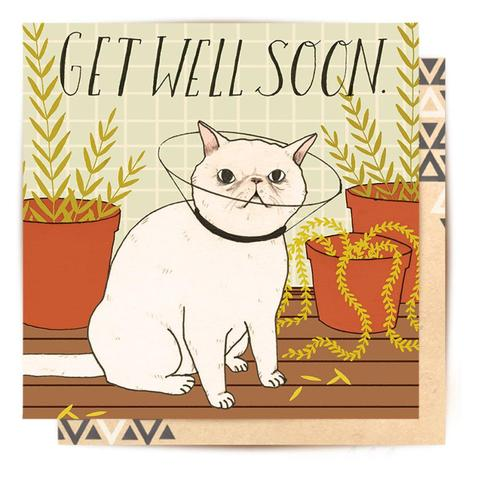 Lalaland - Get Well Soon Cat Greeting Card