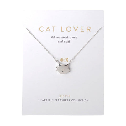 Splosh - Heartfelt Treasures Sterling Silver Necklace, Cat Lover