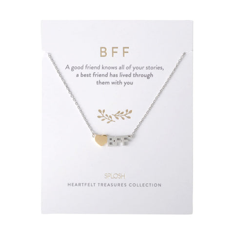 Splosh - Heartfelt Treasures Sterling Silver Necklace, BFF
