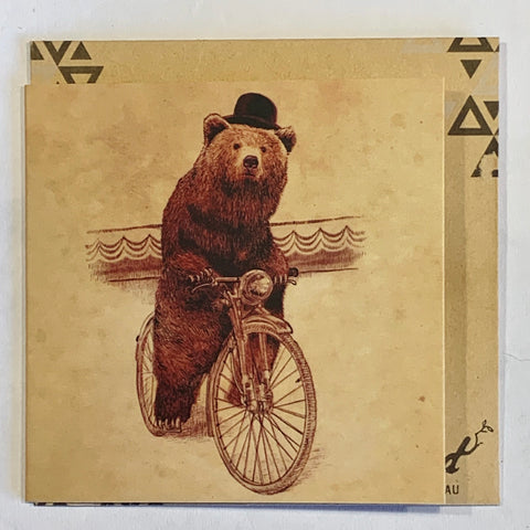 Lalaland - Mini Greeting Card, Bear with Hat