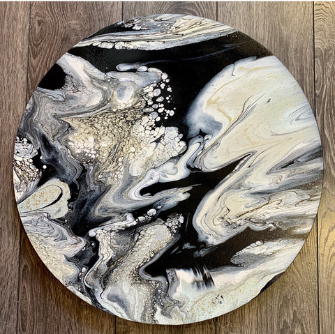 Gemma Michelle Art - OOAK Abstract Acrylic on Round Canvas 50cm