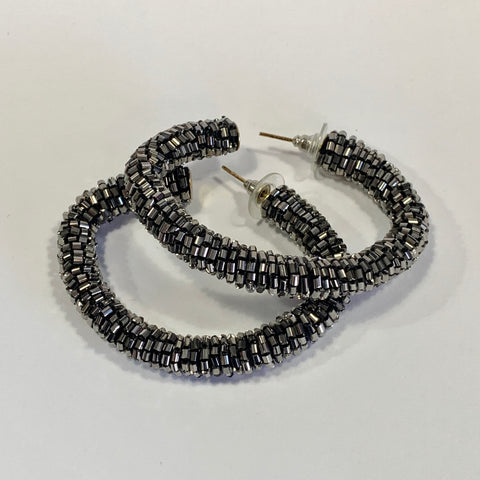 Zoda - Gwen Beaded Open Hoop Earrings, Charcoal Grey