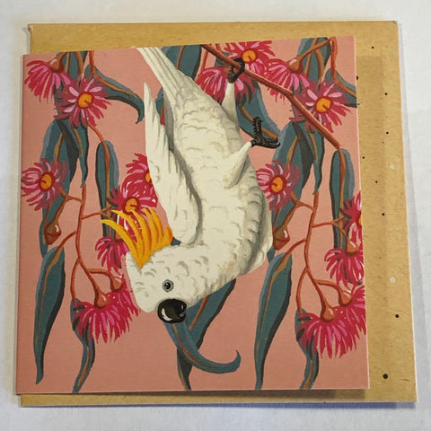 Lalaland - Mini Greeting Card, White Cockatoo