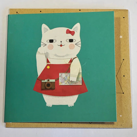 Lalaland - Mini Greeting Card, Red Lucky Cat