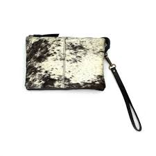Zoda - Leather and Hide Clutch Bag, Natural
