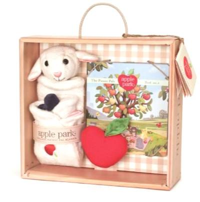 Apple Park - 100% Organic Lamby Gift Set- Blankie, Book and Rattle