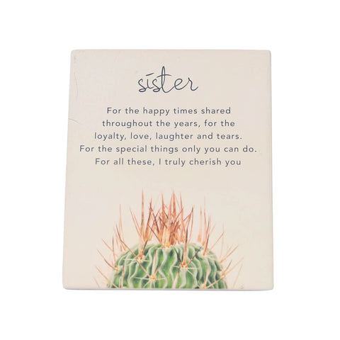Splosh - Natural Oasis Ceramic Gift Plaque, Sister