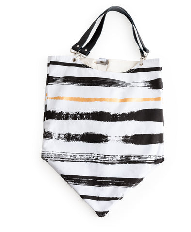 Rosanna Inc. - Anything Goes Pumpkin Bag, Black and White Stripe Brush Stroke