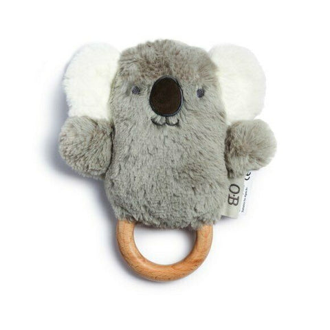 O.B Designs - Baby Rattle and Wooden Teething Ring, Kelly Koala