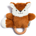 O.B Designs - Baby Rattle and Wooden Teething Ring, Frankie Fox