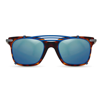 <strong>Winston - T - Triple Bridge</strong> <br> Havana / Silver Temples & Blue Clip On