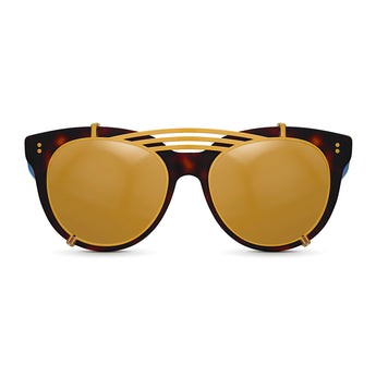 <strong>Olivia - Triple Bridge</strong> <br> Havana & Blue w/ Gold Clip On