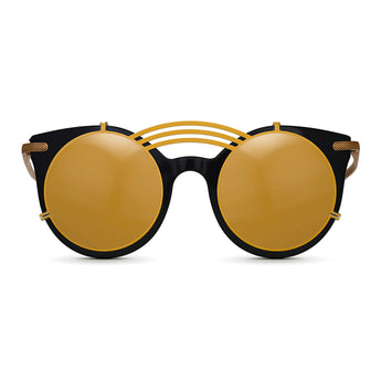 <strong>Loli - T - Triple Bridge</strong> <br> Black / Gold Temples & Gold Clip On