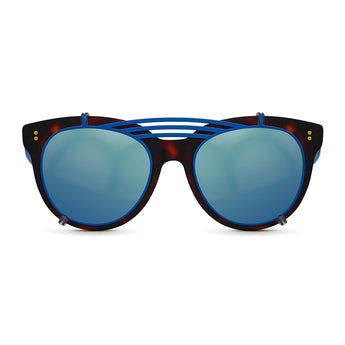 <strong>Olivia - Triple Bridge</strong> <br> Havana & Blue w/ Blue Clip On