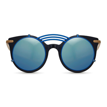 <strong>Loli - T - Triple Bridge</strong> <br> Black / Gold Temples & Blue Clip On